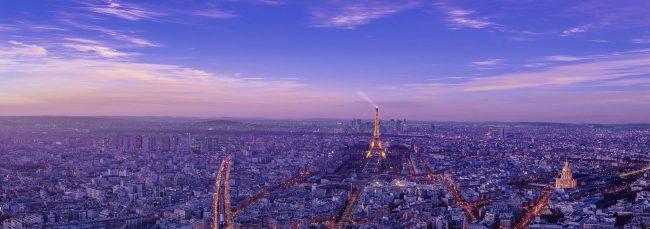 Die Skyline von Paris zum Sonnenuntergang