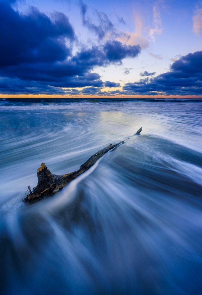 Strandgut an der Ostsee zum Sonnenuntergang